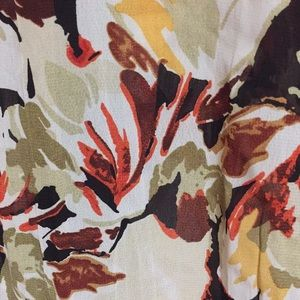 Multi fall colored floral print semi-sheer blouse